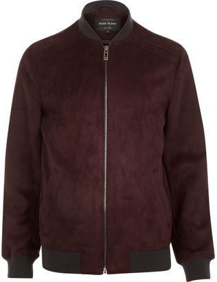 River Island Mens Dark Red faux suede bomber jacket   Suede