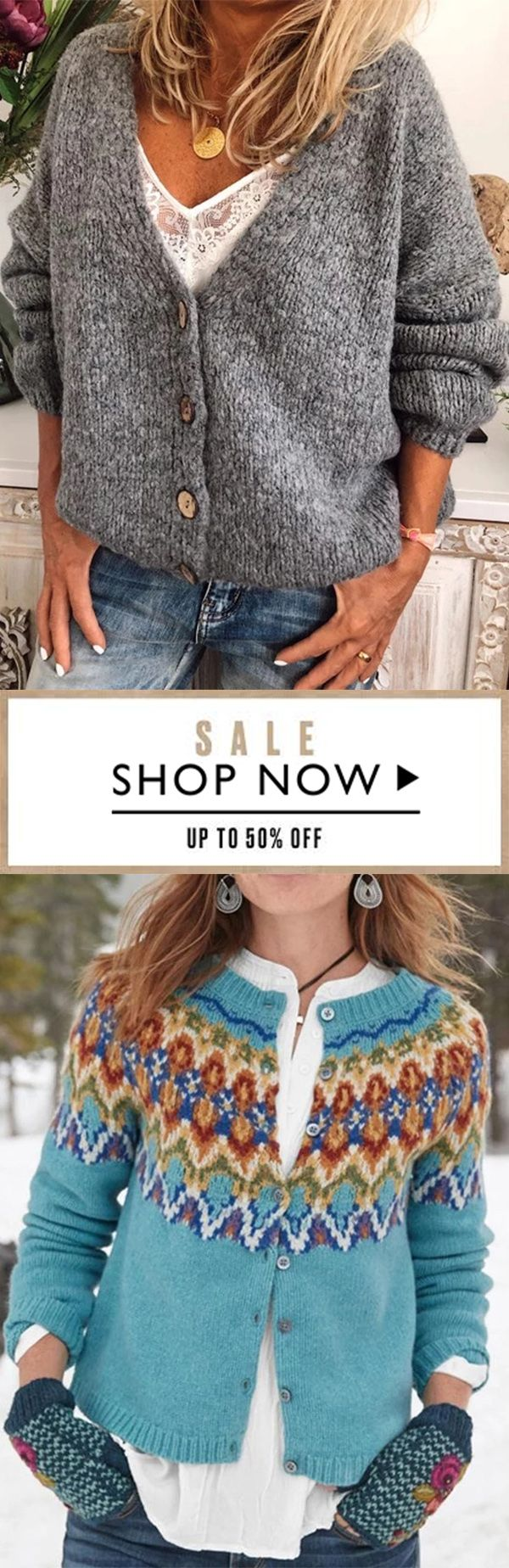 Photo of Casual Button V Neck Cardigan