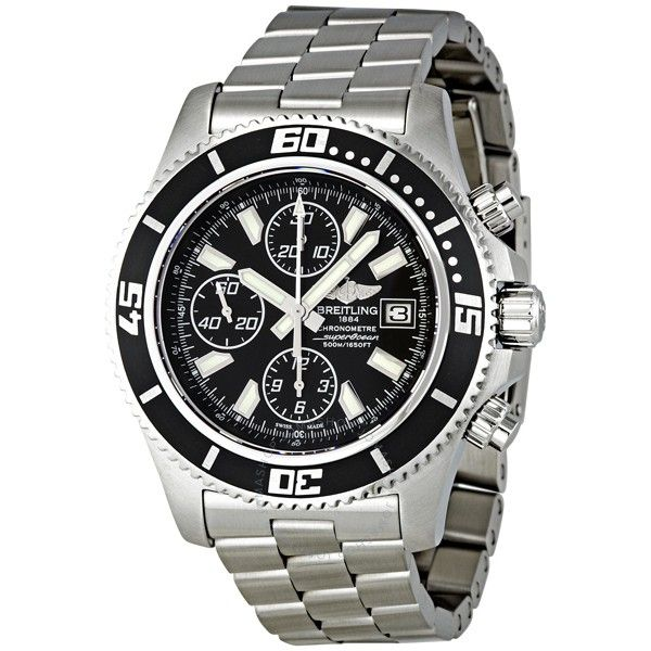 steel watch watches superocean pin black men breitling chronograph ii dial automatic s