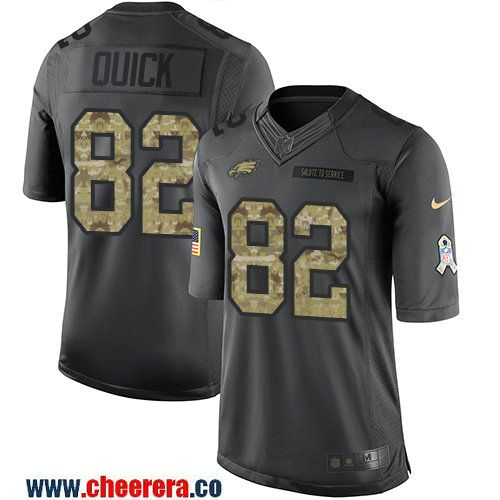 Men's Philadelphia Eagles #82 Mike Quick Black Anthracite 2016 Salute To Service Stitched NFL Nike Limited Jersey