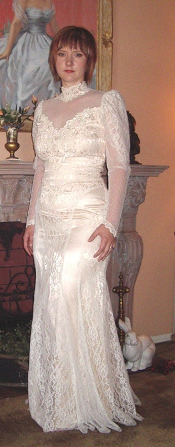 SALE New 1980's Victorian Style White Lace over Ivory