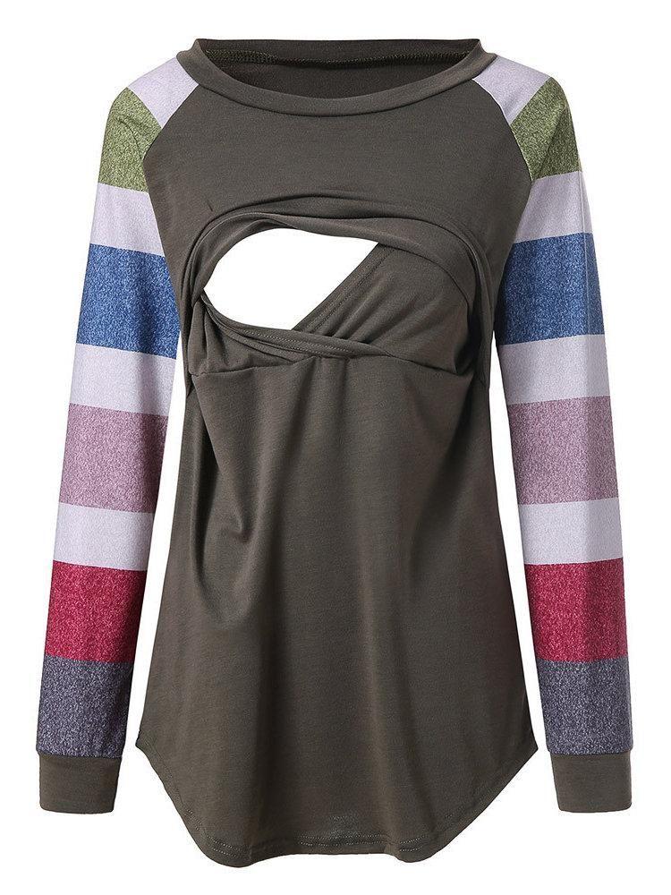 9004b064e Newbabychic Front Open Maternity Long Sleeve Striped Nursing Tops