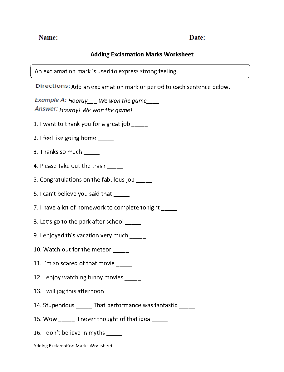Adding Exclamation Mark Worksheet Places to Visit
