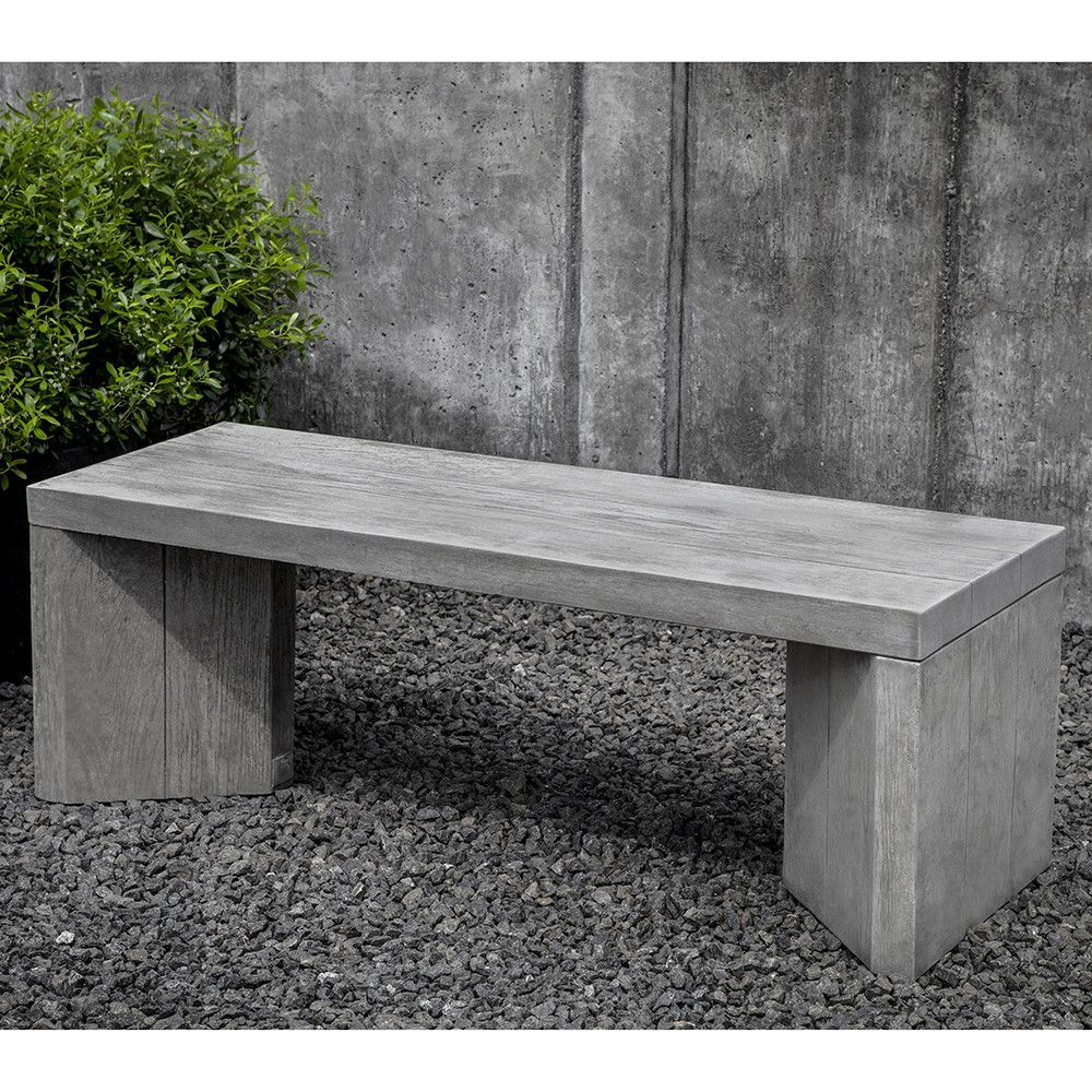 Faux Raw Oak Stone Bench Grey Stone Patina Stone Garden Bench