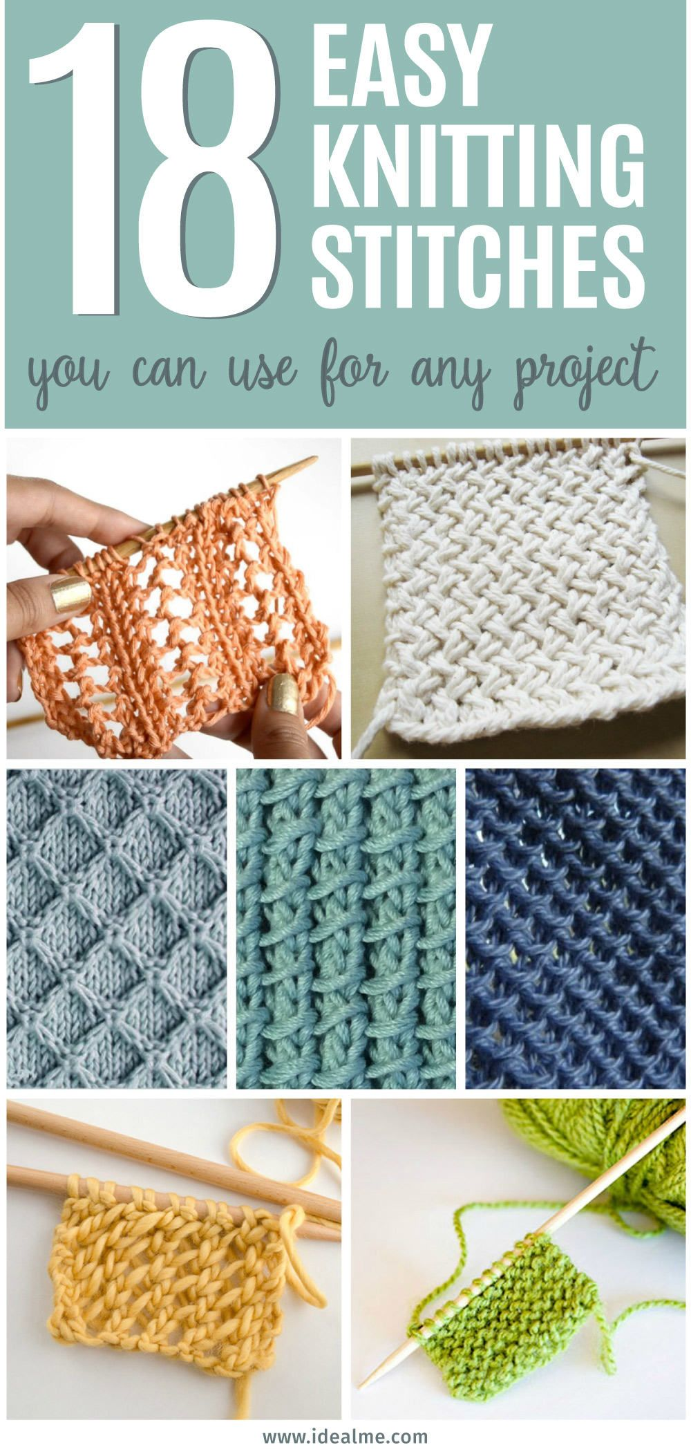 18 Easy Knitting Stitches You Can Use for Any Project #knittingpatternsfree