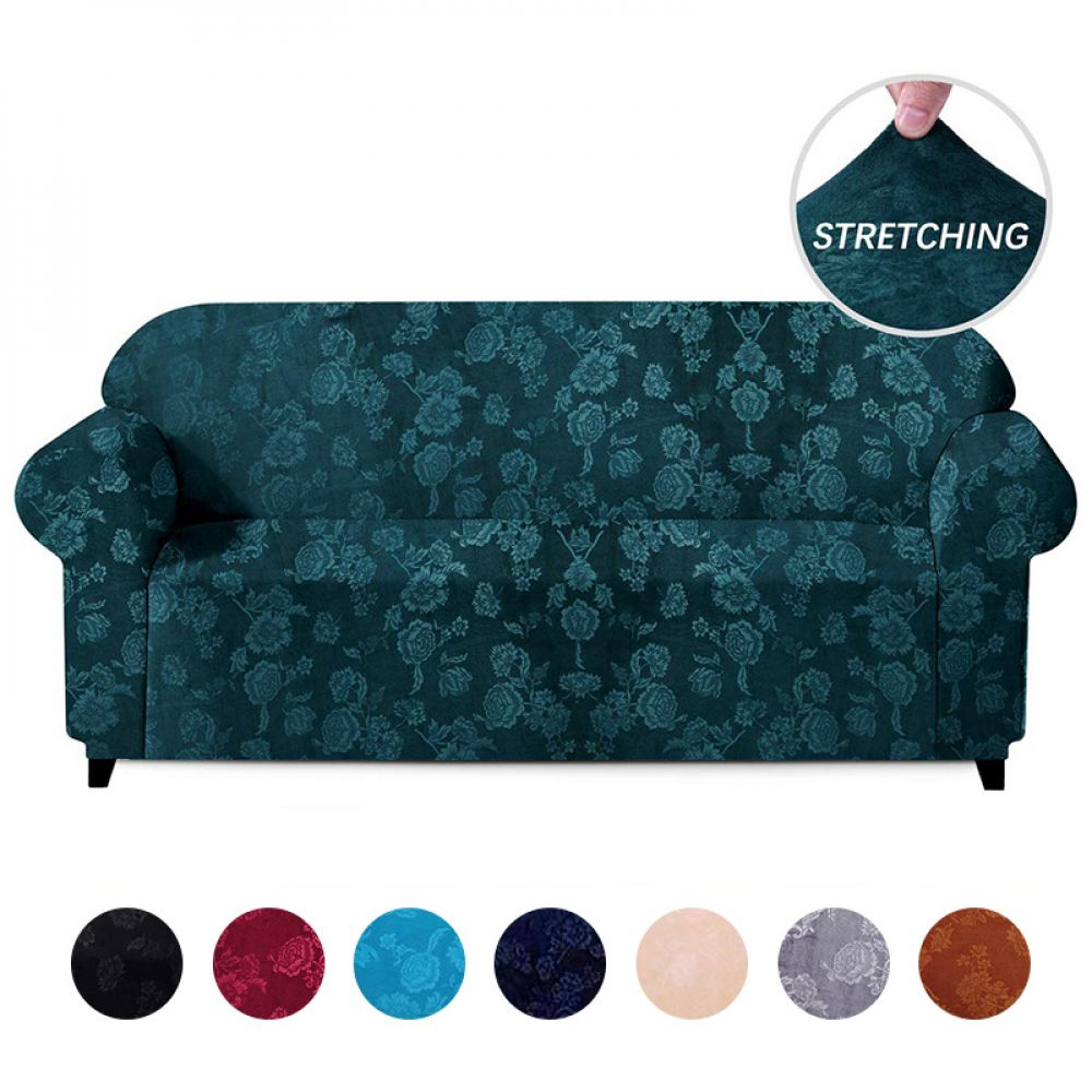 Velvet Embossing Floral Stretch Sofa Cover For Living Room 1 2 3 4 Seater Couch Covers Slip Covers Couch Sectional Couch Cover