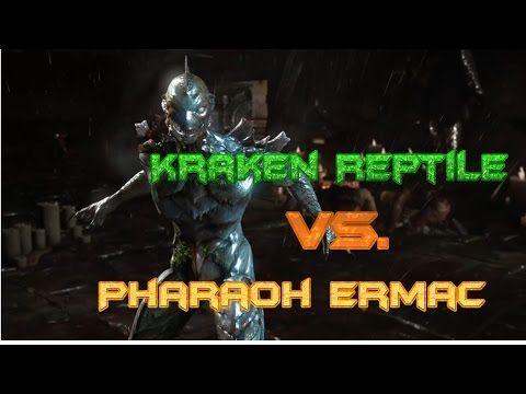 Mortal Kombat X: Kraken Reptile Vs  Pharaoh Ermac (Horror Pack DLC