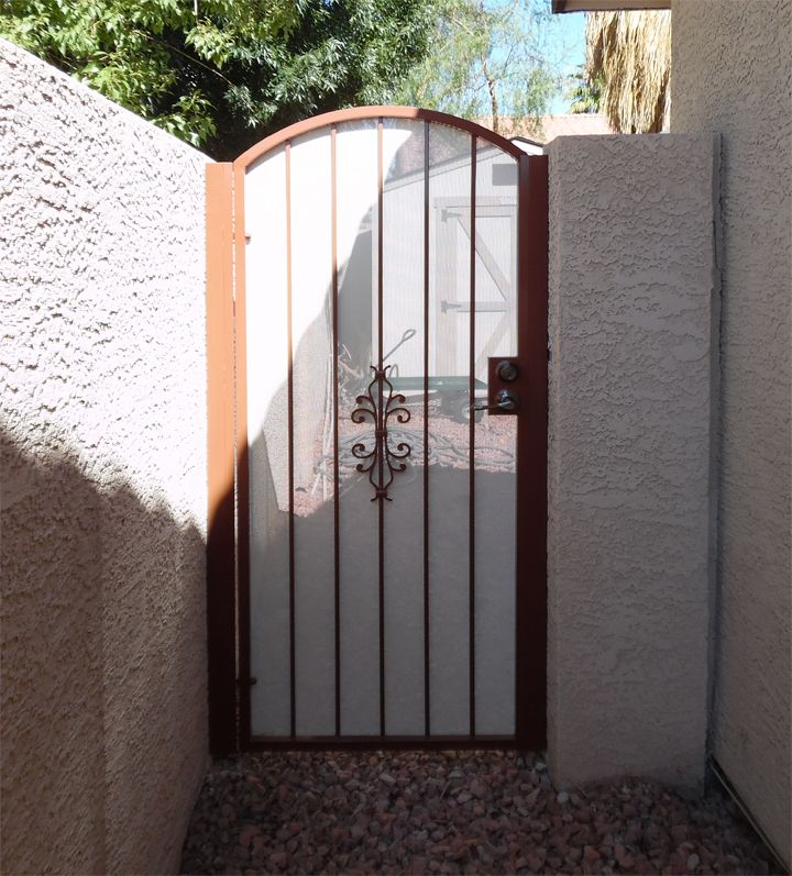 Wrought Iron Side Gate Powder Coated Brown With White Perforated