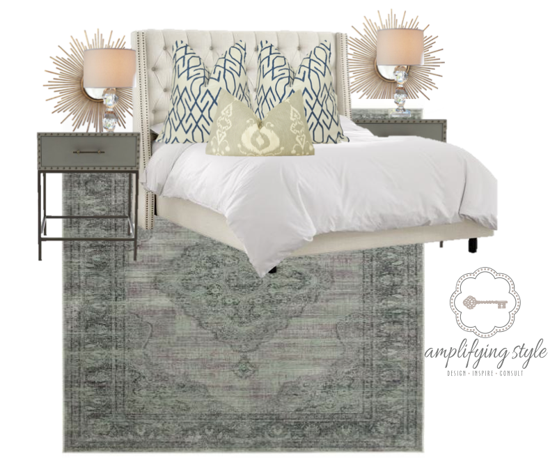 client project: master bedroom.  Contact me to inquire about a design board created especially for you!  www.amplifyingstyle.com