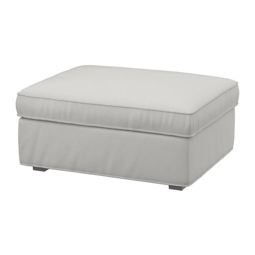 Sectional Sofas IKEA KIVIK Footstool with storage Ramna light grey Big practical storage space under the seat