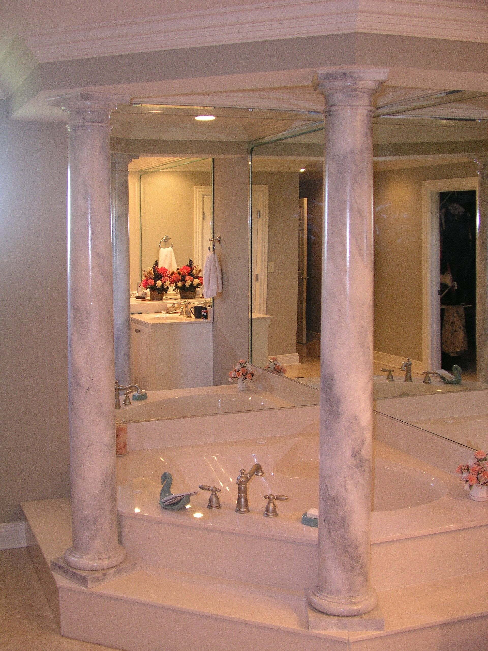 Carrera Marble Columns For A Private Bathroom By Martin Riding Marble Paintingfaux