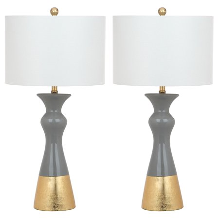 Safavieh Iris 30 5 In H Mid Century Table Lamp Grey Gold Set Of 2 Walmart Com Grey Table Lamps Vintage Table Lamp Gold Table Lamp