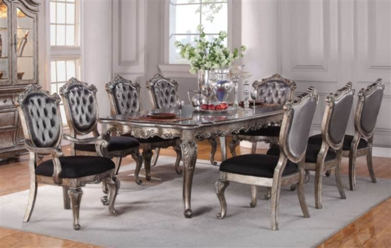 Acme Furniture Chantelle 9 Piece Elegant Dining Table Set In Antique Silver 60540 9set Dining Table Dining Room Design Luxury Dining Room