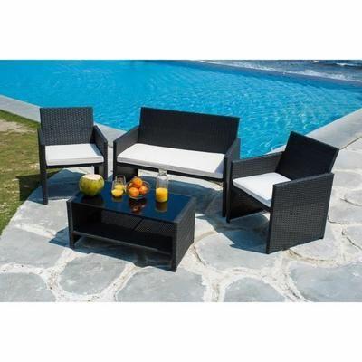 Salon de jardin 4 places - Table : 86 x 46,5 x 39cm ; fauteuils ...