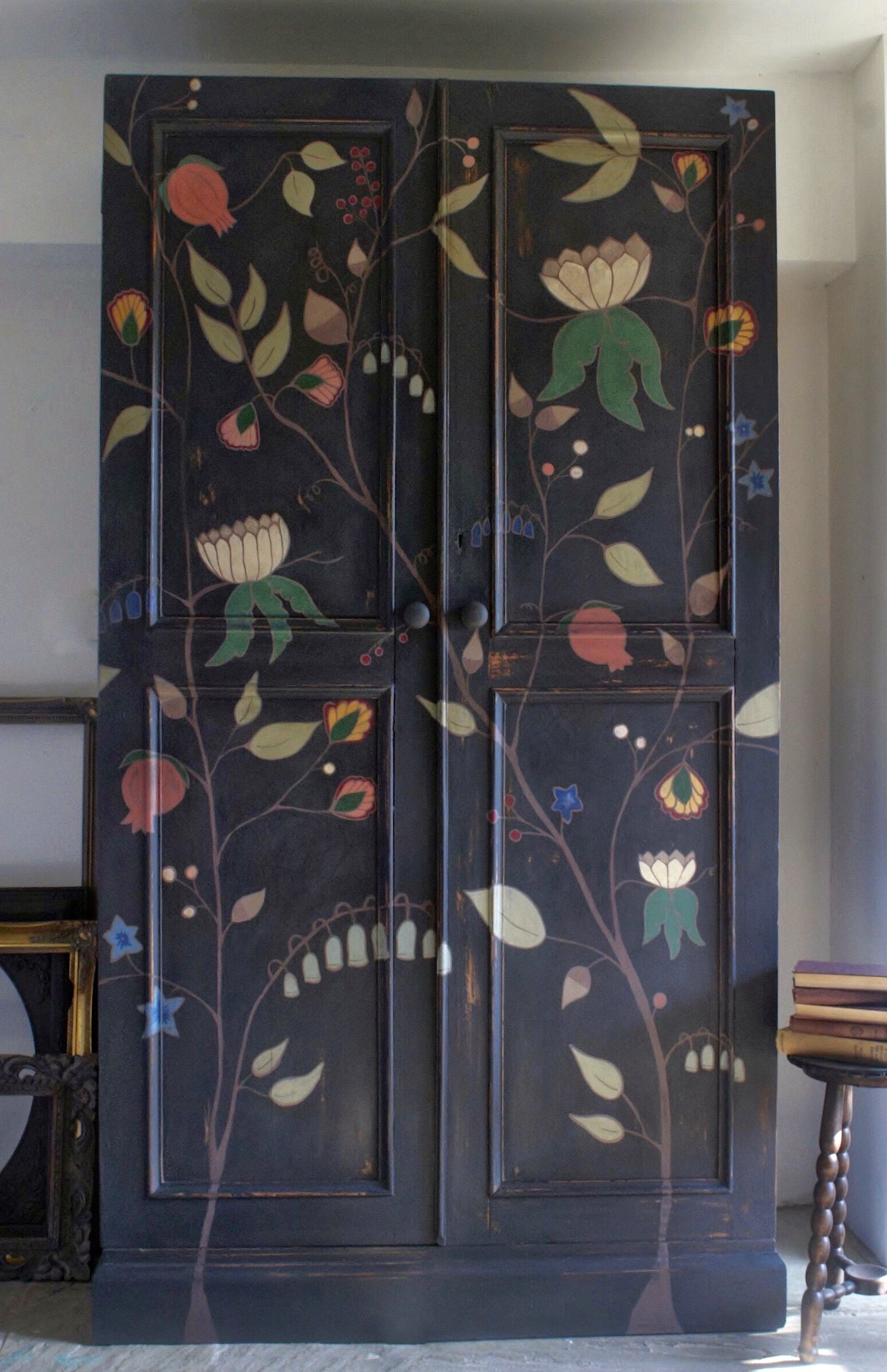 Photo of Antique pine storage unit w/hand painted botanical flowers, fruits and leaves