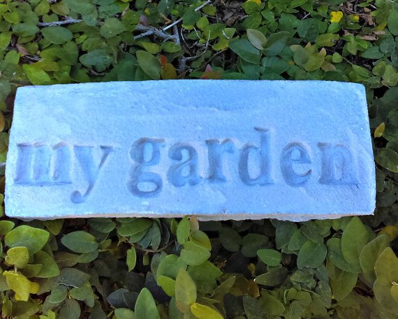 Handmade Stamped Cement Garden Word Stone: MY by SecretGardenHerbs