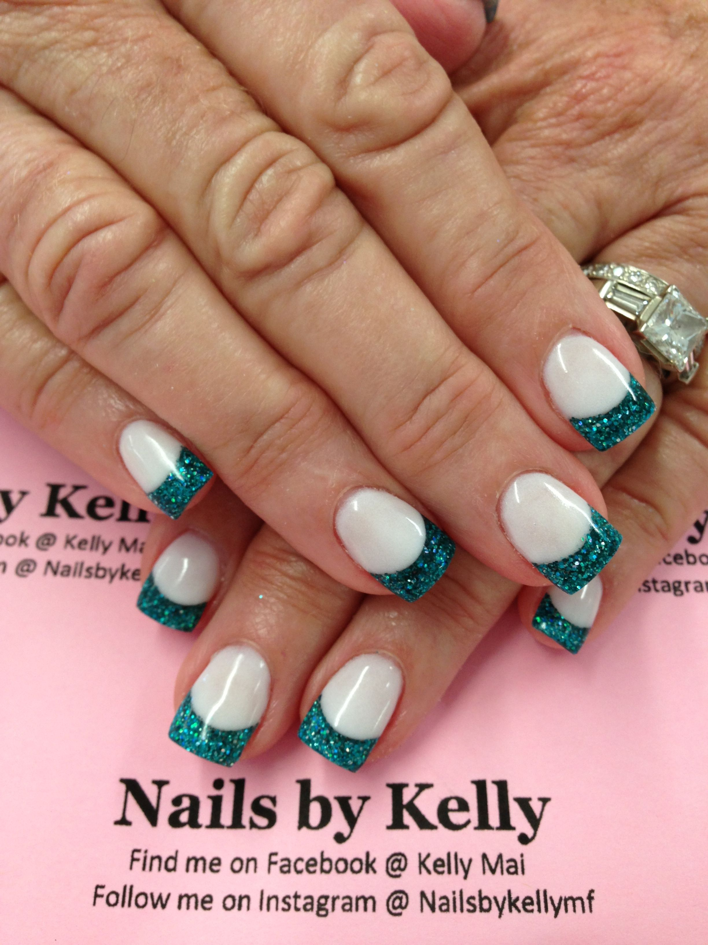Acrylic nails with rock star turquoise | Nails | Pinterest ...