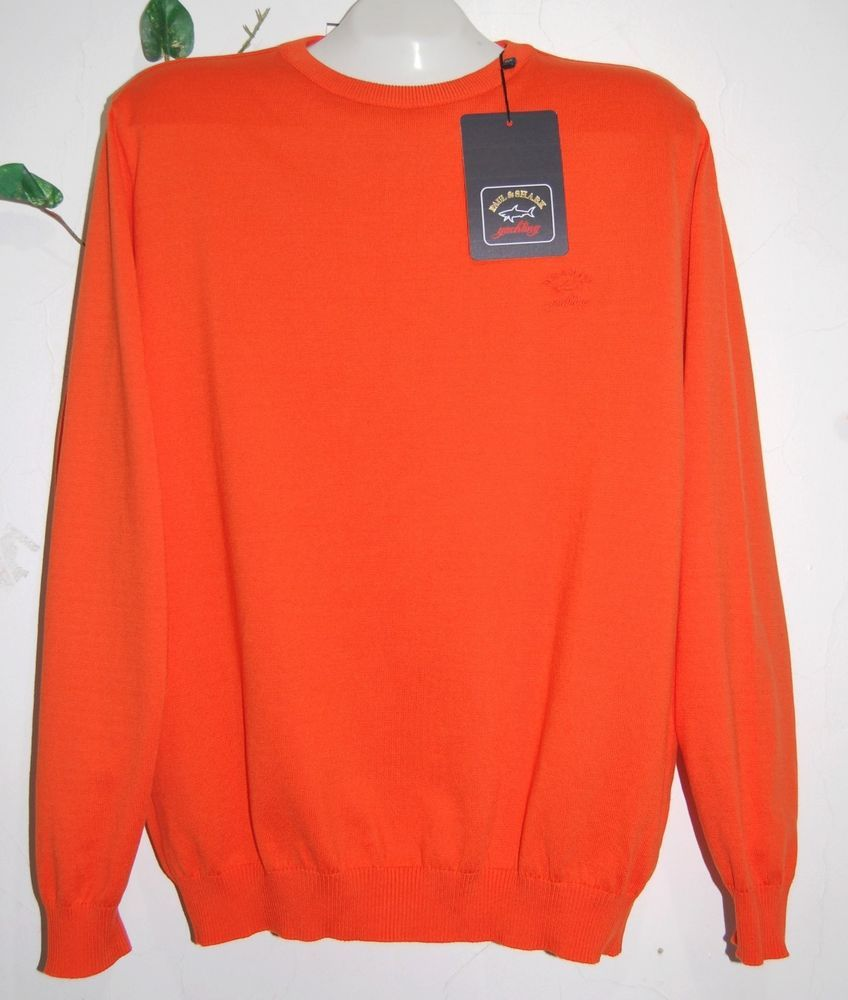 Paul & Shark Yachting Men's Orange Cotton Italian Shirt Sweater Jumper Sz L $439 #PaulSharkYachtingAUTHENTIC #Crewneck