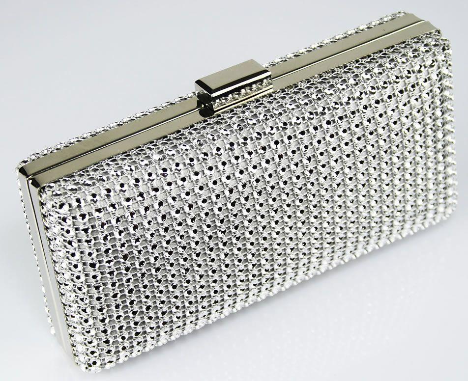 Silver Sparkly Diamante Crystal Evening Clutch Bag