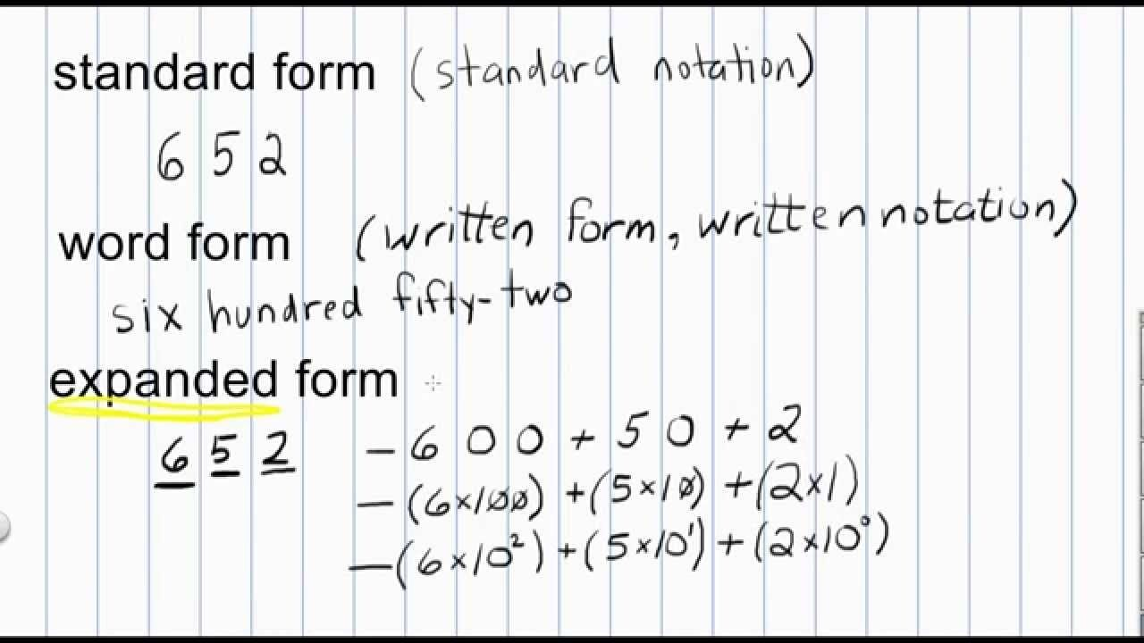 Expanded Form To Standard The