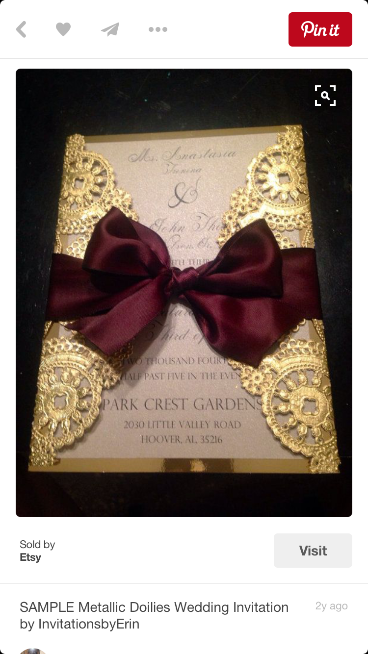 tie ribbon wedding invitation%0A Gold and maroon wedding invitations