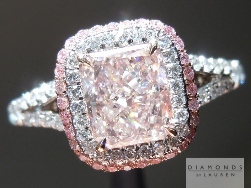 Remarkable 1 02ct Fancy Light Orangy Pink radiant cut diamond set into an ube