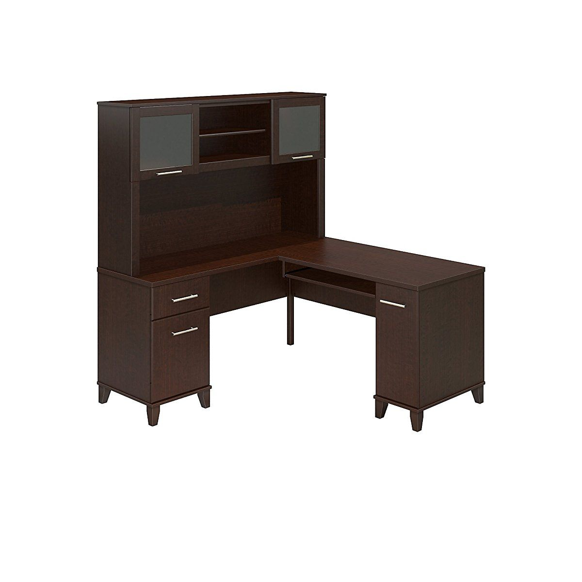 L Shaped Desk with Hutch in Cherry Office Desk in Pinterest