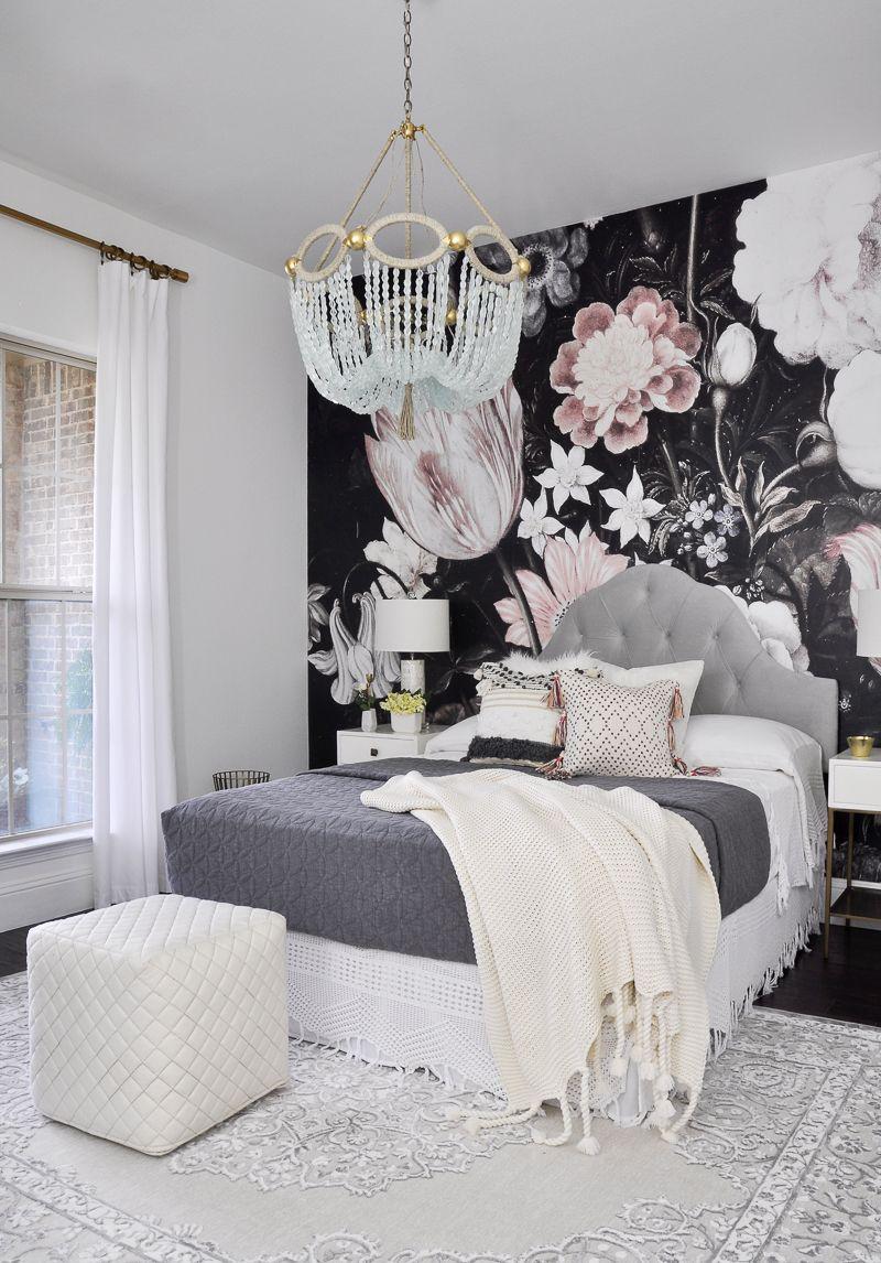 one room challenge the reveal bedrooms bedroom decor, homefabulous bedroom remodel with floor to ceiling wallpaper mural behind bed