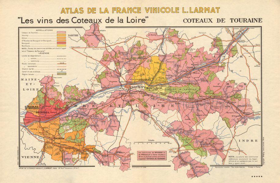 Loire Wine Map Coteaux de Touraine Vouvray Chinon Montlouis AOC