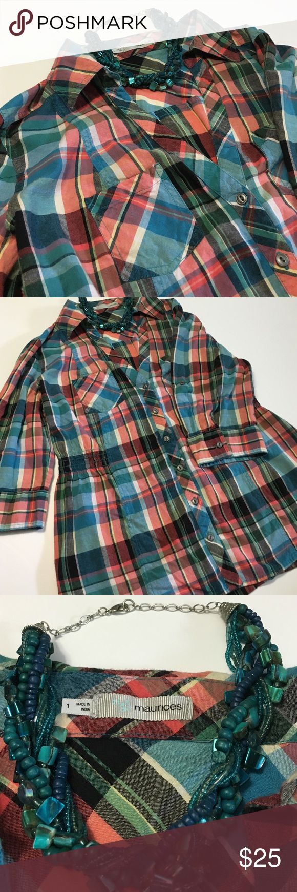 Maurice's plaid top Plaid top, great with jeans. Has 2 front small pockets. Some cinching on front panels (see last pic) and 1 at back. 3/4 sleeves and can be folded. No stains nor rips. Necklace not included in sale. Maurices Tops Button Down Shirts