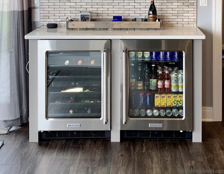 Kitchenaid Undercounter Wine Cellar With Glass Door And Beverage Cooler Installed Side By Side In A Quad Ci Gray And White Kitchen At Home Store White Kitchen