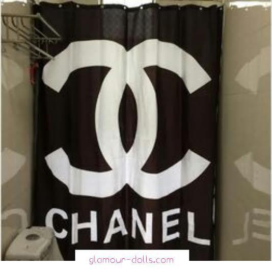 black chanel shower curtain chanel