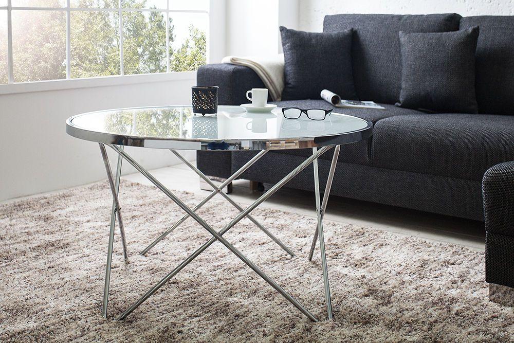 Design Beistelltisch Ciano 40cm Weiss Chrom Tablett Tisch Riess