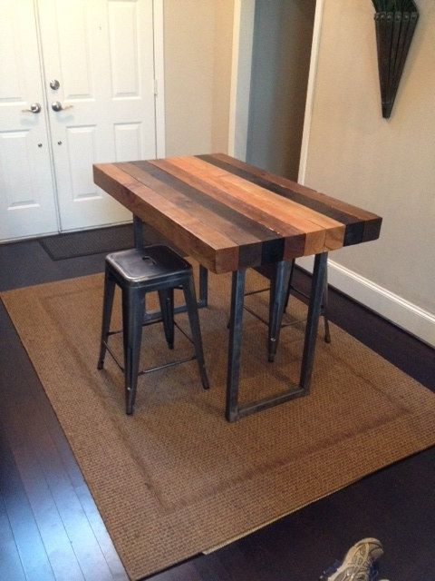 Multi Stained Counter Height Table Etsy Diy Kitchen Table Counter Height Table Unique Furniture Pieces Butcher block bar table