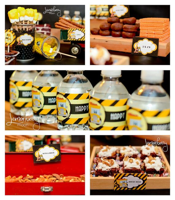 "Construction Birthday Party Food Ideas: Food Ideas (logs, Nuts And Bolts, ""dirt"" Pudding Cups"