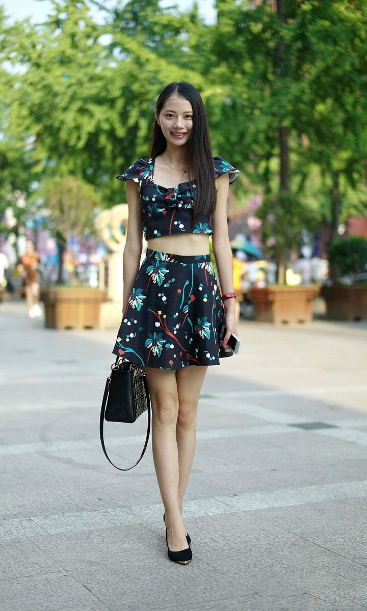 fed7071bd9 Latest street fashion #Chinese girl #summerwears Black Flowers, Skater Skirt,  Latest Street