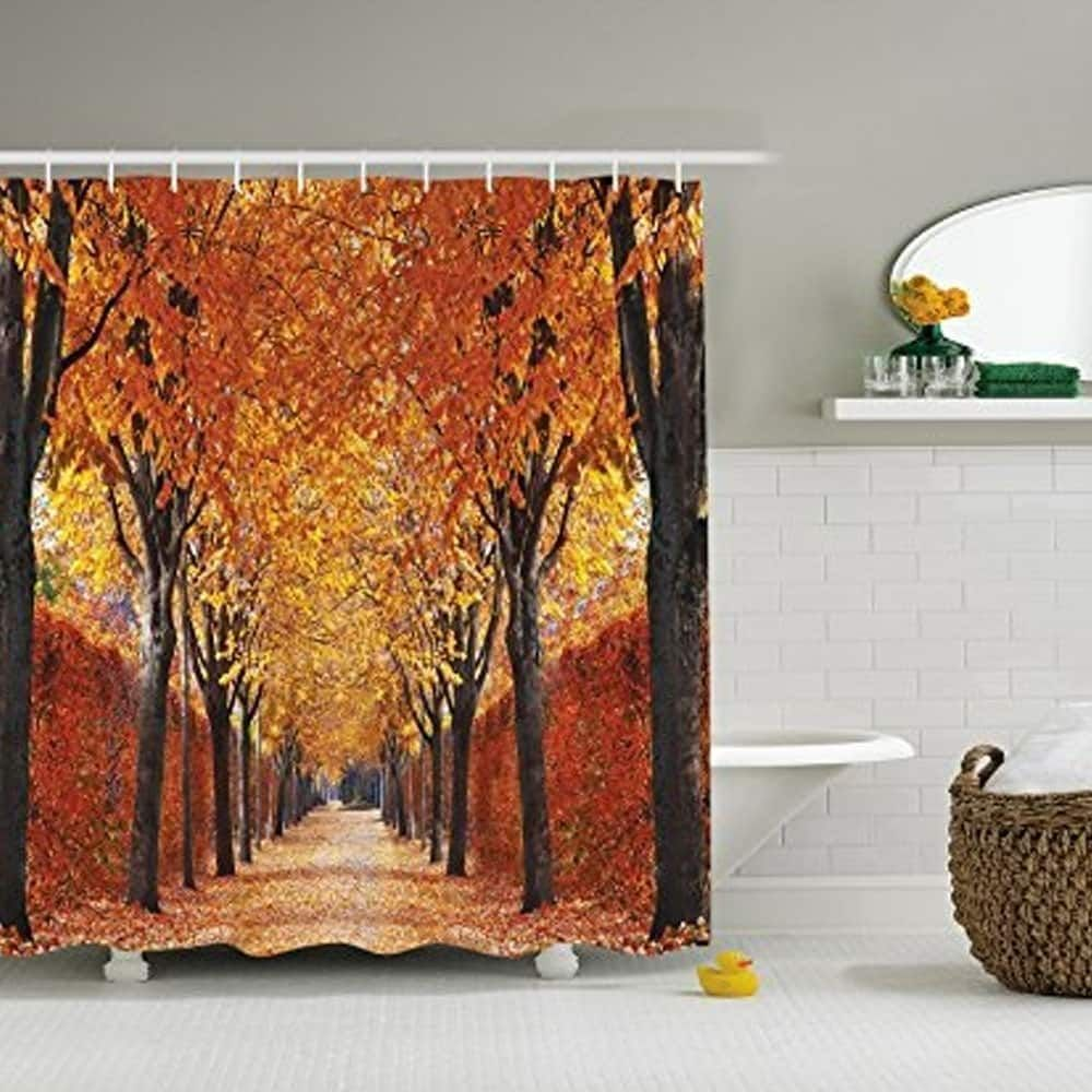 Polyester Fabric Autumn Leaves Shower Curtain With Hooks 72 X 72