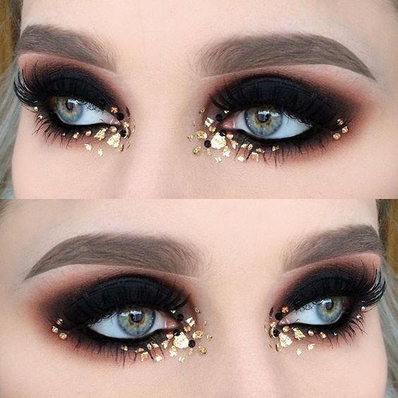 Gem Glamazon Gold Eye Makeup Burlesque Makeup Rave Makeup