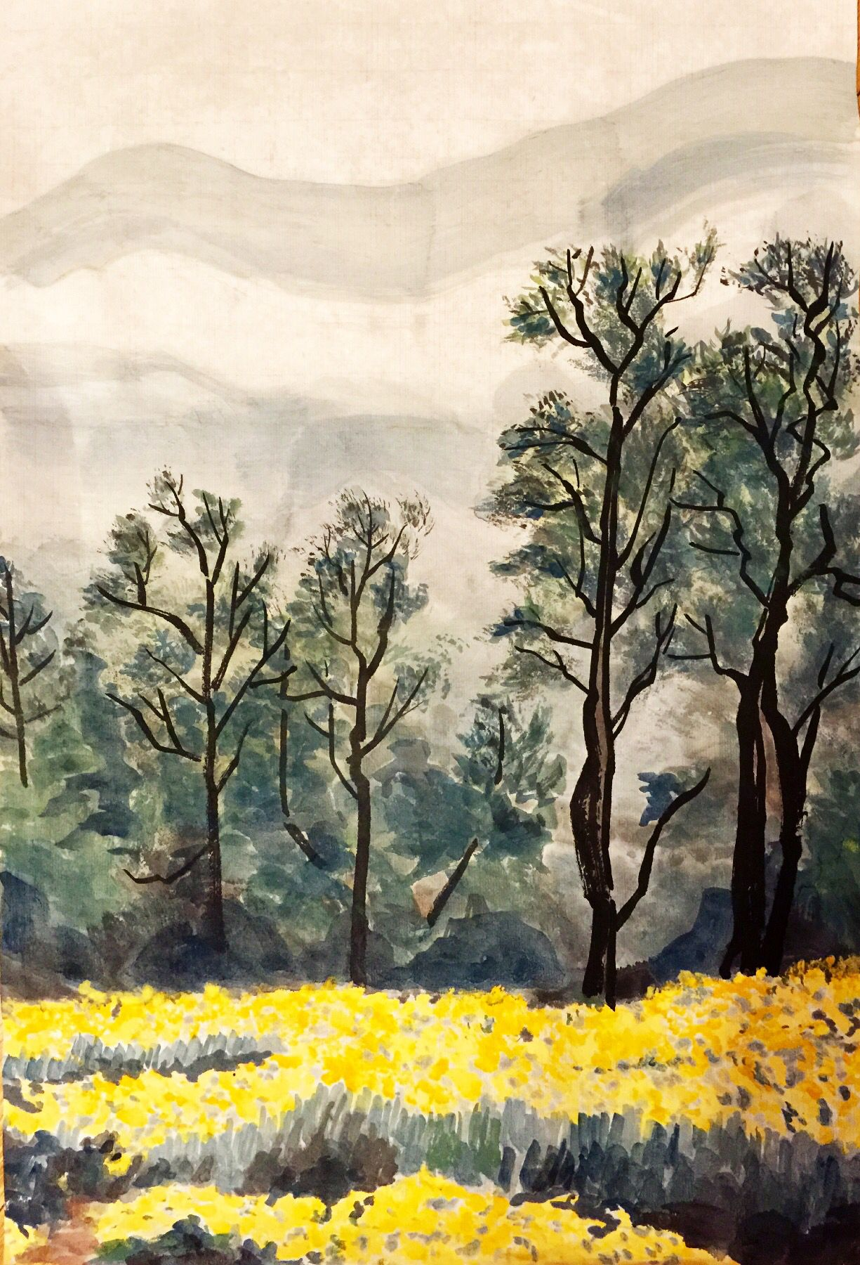 Yellow Flowers Blooming Chinese Landscape Painting Landscape Paintings Chinese Landscape