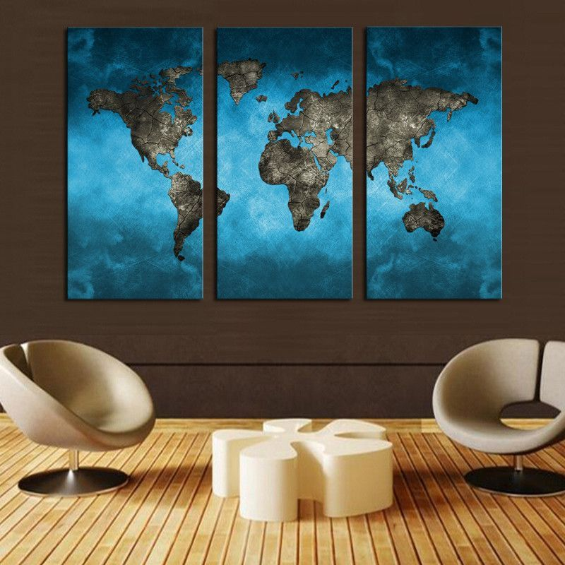 Free Shipping This Beautiful Blue World Map Print From Bigwallprints Com Is An Affordable Way To Make An Modern Wall Art Canvas World Map Art 3 Panel Wall Art