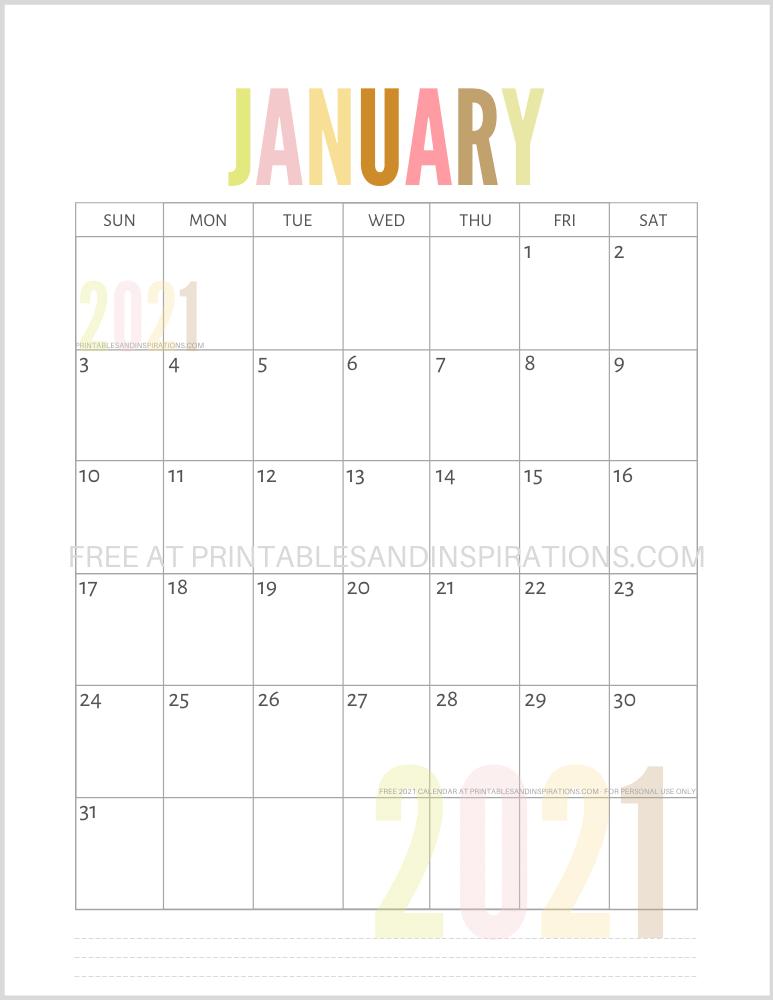 Free Printable 2021 Calendar PDF - Printables and ...