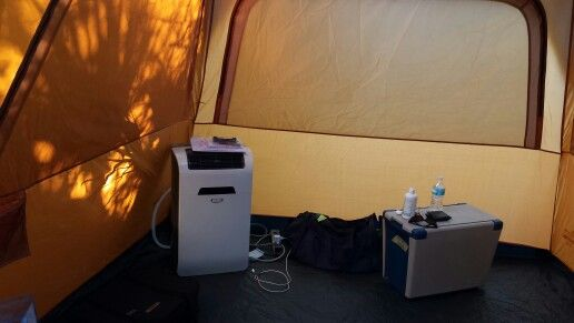 Camping in style.  10,000 BTU A/C inside my tent.