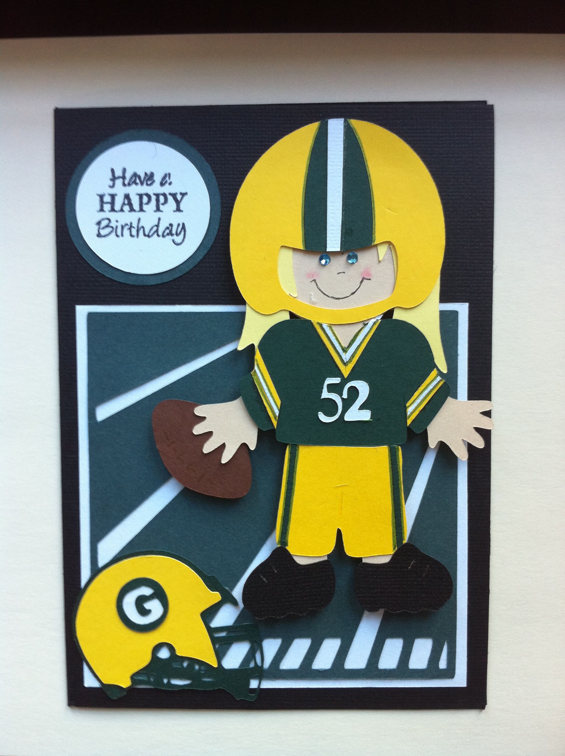 Green Bay Packer BD Card And Cricut Everyday Paper Doll