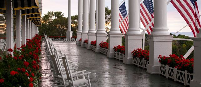 Worlds Longest Wooden Porch With American Flags The Grand Hotel On Mackinac Island