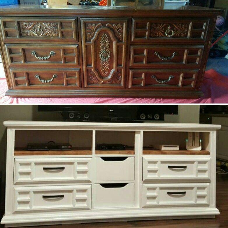 Craigslist Dresser to TV stand #diy