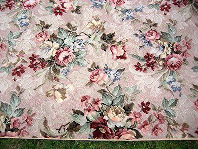 Fabulous Vintage Elow Barkcloth Era Pink Roses Rug Carpet Cleaned No Wear