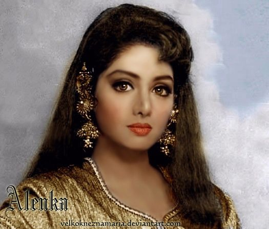 Beautiful Indian Bollywood Actress All Time: Sridevi In Gold By VelkokneznaMaria.deviantart.com On