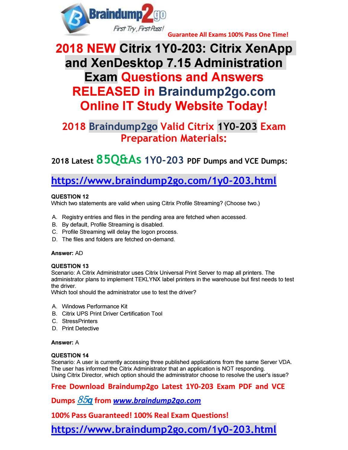 Feb-2018] Braindump2go New 1Y0-203 Dumps with PDF and VCE 85Q&As