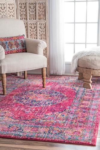 Persian Vintage Arla Fuchsia (Pink) Area Rug, Size 8\' x 10\' | Area ...