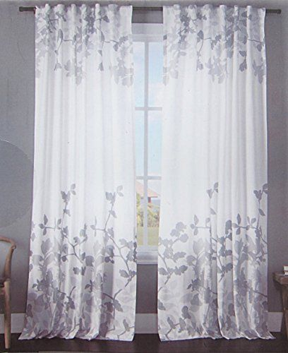 Envogue Window Curtains Floral Climbing Vine Floral Border Print Grey White  Gray Leaves Silhouette Floral Garden
